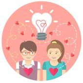 Couple in love with a light bulb in a pink circle — Cтоковый вектор
