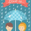 Boy and girl in love under checkered umbrella in the rain — Stock Vector #60329355