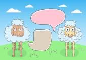 Sheep Conversation with Speech Bubbles — Stock Vector