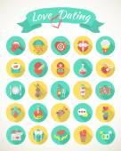 Round Love and Dating Flat Icons with Long Shadows — Stockvector