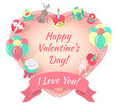 Valentines Day Card with Love Symbols — Vettoriale Stock
