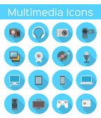 Multimedia Flat Icons — Stock Vector