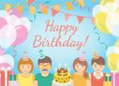 Kids Birthday Party Background — Stok Vektör