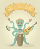 Latino Octopus Play Music — Stock Vector