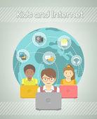Kids on Internet World Over — Stock Vector