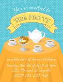 Tea Party Invitation Template — Stock Vector