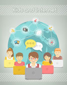 Kids Social Networking on the Internet of Group with Computers — Stock Vector