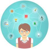 Genius Boy Interests Conceptual Infographics — Stock Vector