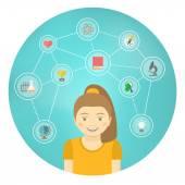 Genius Girl Interests Conceptual Infographics — Stock Vector