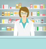 Flat style young pharmacist at pharmacy opposite shelves of medicines — Stock Vector