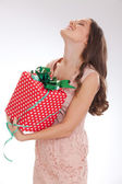 Beauty portrait of a young woman  happy dear gift — Stock Photo