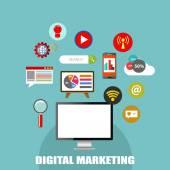 Digital marketing, flat icons — Stock Vector