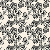 Vector seamless pattern with black flowers — Stock Vector