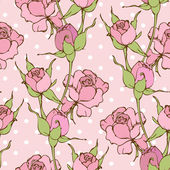 Vector retro seamless pattern with pink roses — Stock Vector