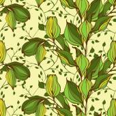 Vector seamless pattern with green leaves — Stockvector