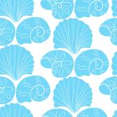 Vector seamless pattern with blue shells — Stockvektor