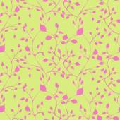 Vector seamless pattern with pink leaves — Stock Vector