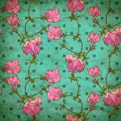 Vector seamless pattern with pink flowers on dotted background — Stock Vector