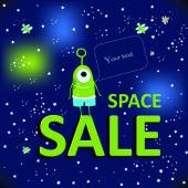 Illustration. Space sale. — Stock Vector