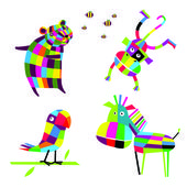 Vector illustration. Cheerful animals — Stock Vector