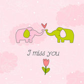 Illustration with elephants I miss you — Stock Vector