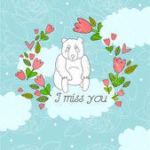 Illustration with panda I miss you — ストックベクタ