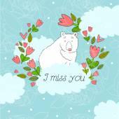 Illustration with bear I miss you — Stockvektor