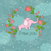 Illustration with elephant I miss you — Stock Vector