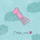 Illustration with octopus I miss you — Stockvektor