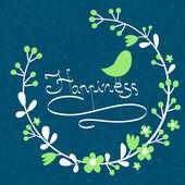 Illustration with bird - Happiness — Stockvektor
