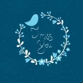 Illustration with bird I miss you — Stockvektor