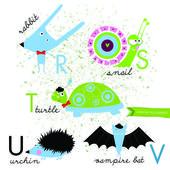 Vector alphabet with animals R S T U V — Stock Vector