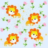 Vector background with lions — Stock Vector