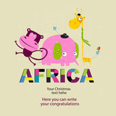 Vector set of African animals. — Wektor stockowy