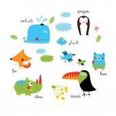 Set of cartoon animals — Stock Vector
