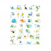 Russian alphabet with animals — Stock Vector