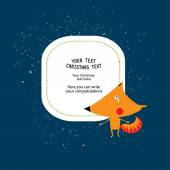 Frame for christmas text with fox — Stock Vector