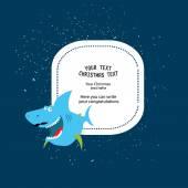 Frame for christmas text with shark — Stock Vector