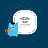 Frame for christmas text with bear — Stockvector