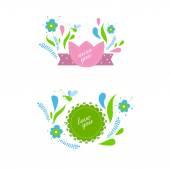 Set di etichette floreale — Vettoriale Stock