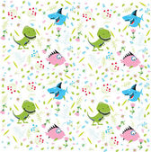 Floral pattern with animals — Vetor de Stock