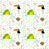 Floral pattern with animals — Vector de stock