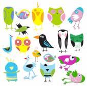 Set of cartoon birds — Stock Vector