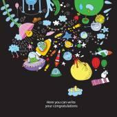 "Cartoon illustration of ""space"" — Wektor stockowy"