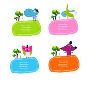 Set of stickers with animals — Stock Vector