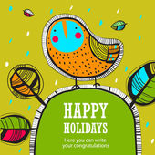 Holiday background with bird — Stock Vector