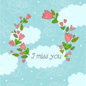 I miss you card design — Stock Vector