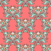 Seamless vector pink vintage pattern damask  — Wektor stockowy
