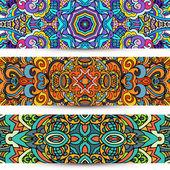Festive Ornamental vector banner Ethnic tribal Set — Stock Vector
