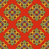 Orange Floral festive vector pattern — Stock Vector